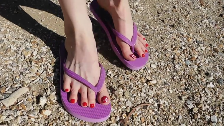 Emily red toes and purple flip flops