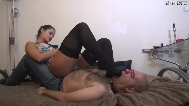 Lady Carolina - Twisted Gratitude - Foot Domination And Human Furniture In Sexy Swimsuit And Stockings
