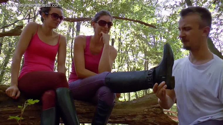 Madame Marissa - Slave licks our muddy riding boots in the woods