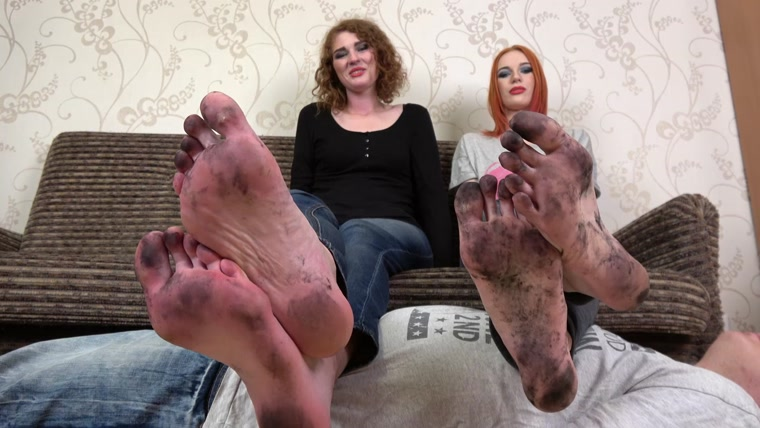 Eva, Rosa - Lick our dirty feet while we stand on you