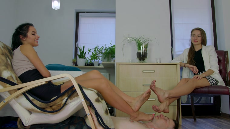 Dominant Femine - Man Under Larisa And Eliza - Footrest And Licking