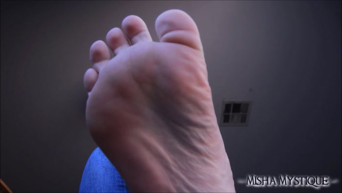 Misha Mystique - Foot Fetish Bare Wrinkled Soles and Blue Jeans