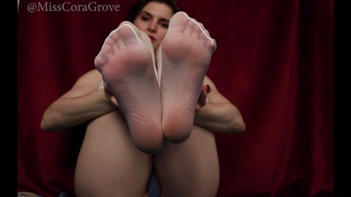 Miss Cora Grove - Stroking my soles in white nylon thigh highs