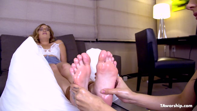 Tickle Abuse – Katie Kush Getting an Oily Foot Tickle