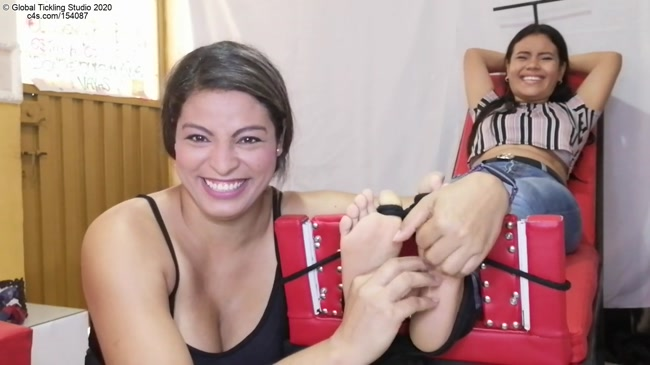 Global Tickling Studio – Ceci The Tickler Stocks And Tickles Newbie Valentina's Soft Bare Soles!